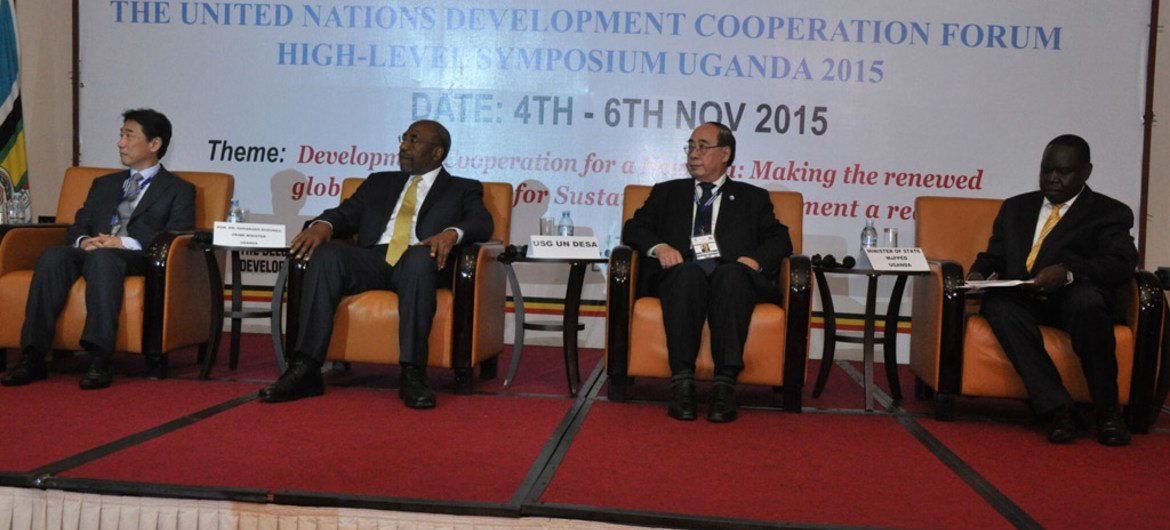 President of the Economic and Social Council (ECOSOC) Oh Joon (left) and Under-Secretary-General for Economic and Social Affairs Wu Hongbo (second right) are joined by other officials at the ECOSOC Development Cooperation Forum in Kampala, Uganda.