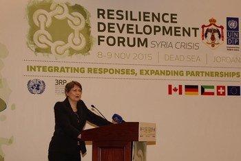 Administrator of the UN Development Programme (UNDP) Helen Clark addresses the Resilience Development Forum on the shores of the Dead Sea in Jordan.