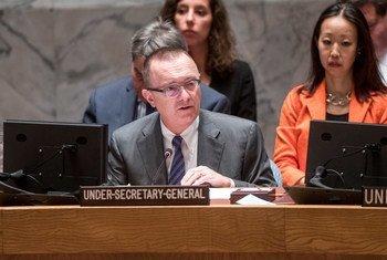 联合国负责政治事务的副秘书长费尔特曼在安理会发言。联合国/Cia Pak