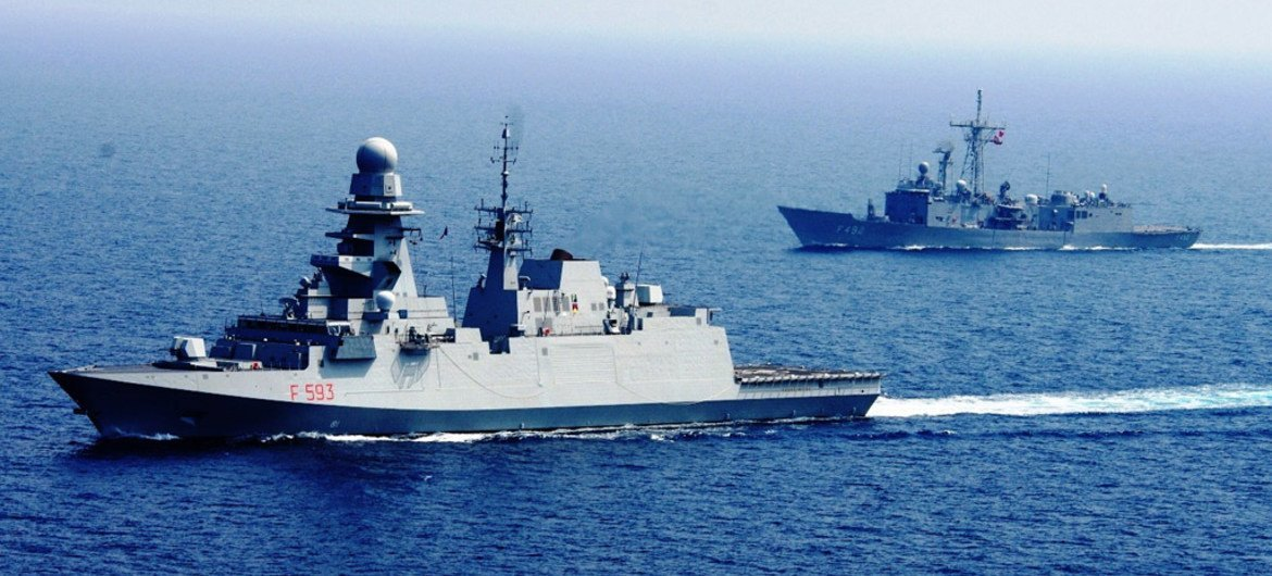 Ships from the European Union Naval Force (EUNAVFOR) off the coast of Somalia.
