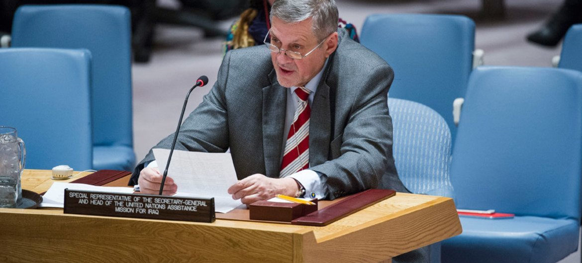 Special Representative the Secretary-General and Head of the UN Assistance Mission for Iraq (UNAMI), Ján Kubiš, briefs the Security Council.