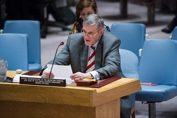 Le Représentant spécial du Secrétaire général de l'ONU pour l'Iraq, Jan Kubis, devant le Conseil de sécurité. Photo : ONU/Amanda Voisard