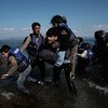 Asylum-seekers from Syria, including children, arrive on the shores of the island of Lesbos, in the North Aegean region of Greece.