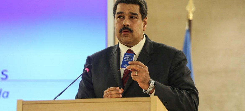 President of Venezuela, Nicolás Maduro Moros, addresses the Human Right Council special meeting in Geneva.