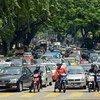 Road traffic in Kuala Lumpur, Malaysia.