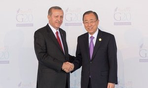 Secretary-General Ban Ki-moon at the official welcoming event of the G20 Summit by H.E. Mr. Recep Tayyip Erdoan, President of Turkey. 15 November 2015.