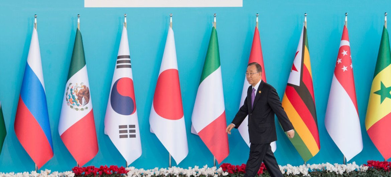 Secretary-General Ban Ki-moon arrives at the G20 Summit in Antalya, Turkey,on 15 November 2015.