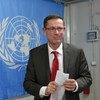 Assistant Secretary-General for Human Rights Ivan Šimonović leaves a news conference in Mogadishu, at the end of a five-day visit to Somalia.