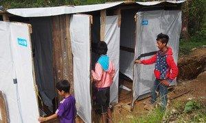 缅甸儿童在使用在儿基会帮助下搭建的厕所。