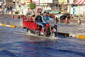A flooded street in Baghdad, after heavy rain in late October 2015 inundated several areas of Iraq.