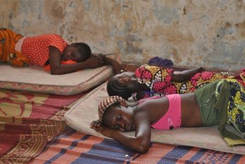 Displaced girls sleep on the floor in a rented house in Yola. IDPs in northeastern Nigeria often share overcrowded rooms and most times are left to fend for themselves.