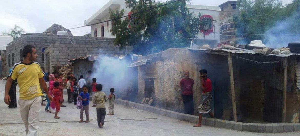 WHO and Health Office in Taiz, Yemen, conduct mosquito spraying campaign in Sala, Al-Mothafar and Al-Qahera districts for dengue fever control.