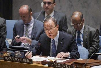 潘基文秘书长在安理会讲话资料图片。联合国/Rick Bajornas