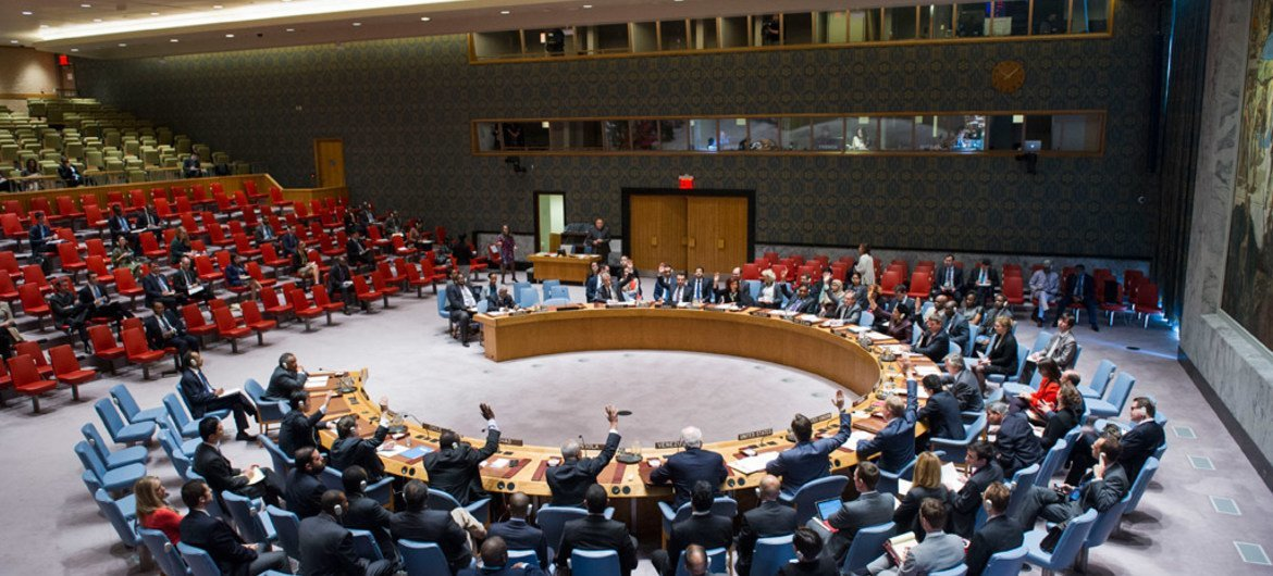 The Security Council votes on a resolution.
