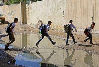 处于战火中的伊拉克儿童。儿基会图片/Wathiq Khuzaie