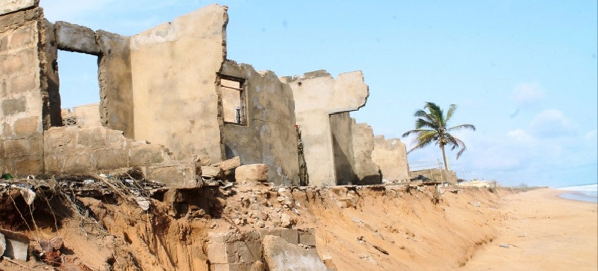 Rising sea levels, caused by climate change, are increasing, eroding the coast of Togo and destroying home and businesses.