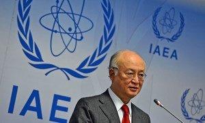 Le Directeur général de l'AIEA, Yukiya Amano, lors d'une conférence de presse au siège de l'agence à Vienne, en Autriche, (archive)