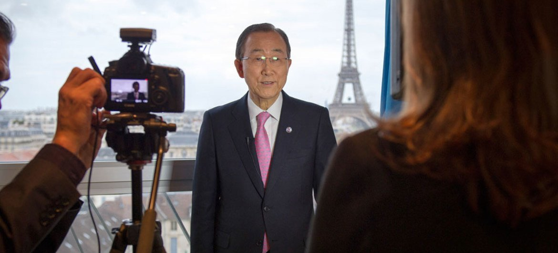 UN Secretary-General Ban Ki-moon speaks to the UN News Centre ahead of the UN climate change conference, COP21, in Paris, France.