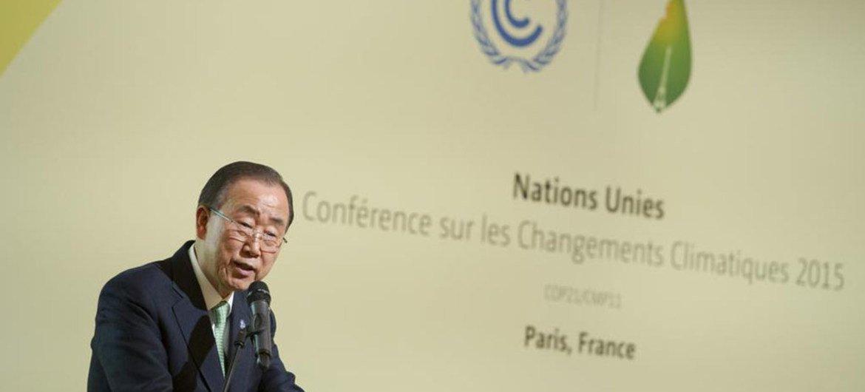 潘基文秘书长在巴黎气候变化大会上发表讲话。联合国图片/Rick Bajornas