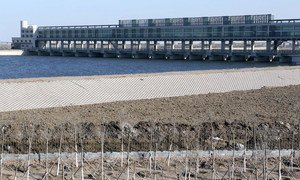 A flood control dam in Tianjin Eco-City, China.