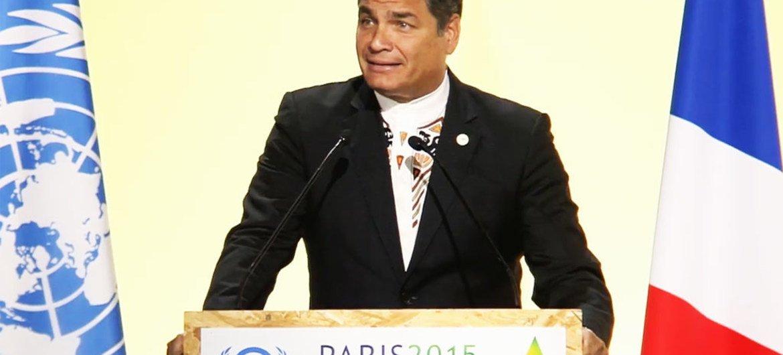 El presidente de Ecuador, Rafael Correa, en la COP21. Foto: Captura de video de la página web COP21