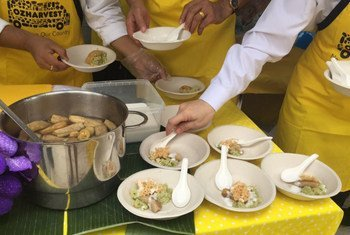 Prominent chefs from Thailand and Australia use ingredients that are usually discarded to dish up meals for people in Bangkok, to raise awareness on food waste.