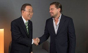 United Nations Secretary-General Ban Ki-moon and UN Messenger of Peace Leonardo DiCaprio meet on the margins of the UN climate change conference in Paris, France. 5 December 2015.