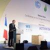 Le Secrétaire général de l'ONU Ban Ki-moon s'exprimant lors de la Journée d'action à la Conférence des Nations Unies sur les changements climatiques. 5 décembre 2015. Photo ONU/Eskinder Debebe