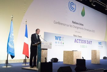 United Nations Secretary-General Ban Ki-moon speaking on Action Day at the UN climate change conference. 5 December 2015.