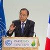 Le Secrétaire général Ban Ki-moon à l'ouverture de la session de haut niveau de la COP21. Photo ONU/Eskinder Debebe