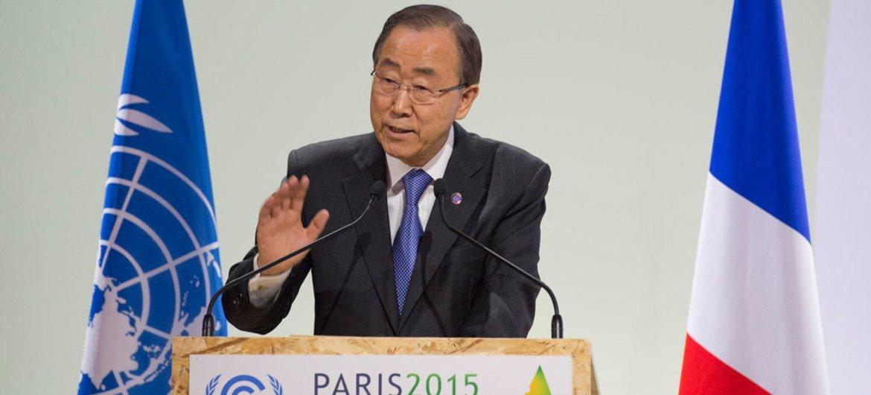 Secretary-General Ban Ki-moon addresses the opening of High-Level Segment of COP21.