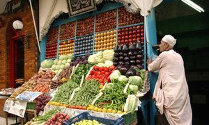 Fresh produce for sale at a street market in Giza, Egypt.
