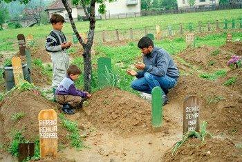 बोसनिया एण्ड हर्ज़ेगोविना के वितेज़ में एक पिता अपने बेटे की क़ब्र पर शोक प्रकट करते हुए.