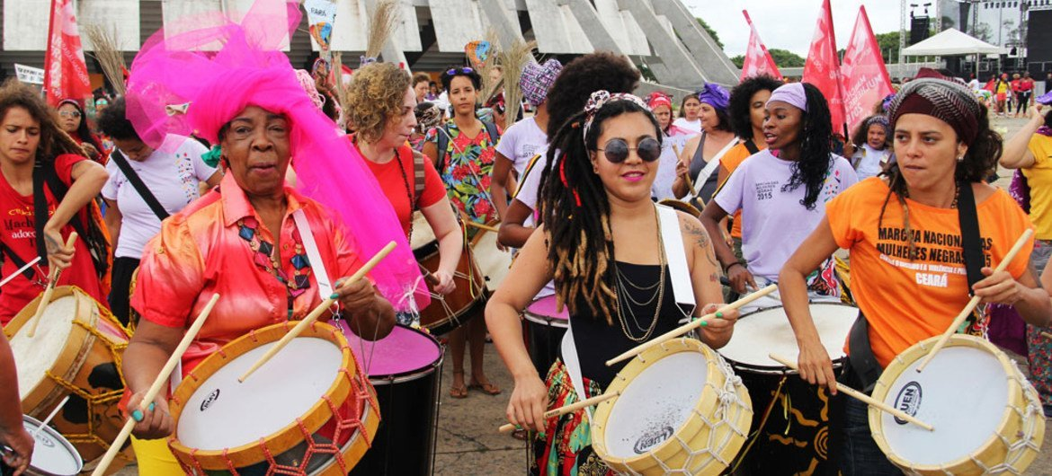 Daughters, mothers, grandmothers, midwives, ministers, academics, activists, domestic workers and a diverse range of women take part in the Black Women's March against Racism and Violence in Brasilia, Brazil (18 November 2015).