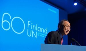 Secretary-General Ban Ki-moon delivers the keynote address during the ceremony held at the Finlandia Hall to mark the 60th anniversary of Finland's entry into the United Nations.
