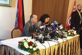 Special Representative Martin Kobler briefs the press after a two-day meeting of the Libyan Political Dialogue in Tunis, Tunisia.