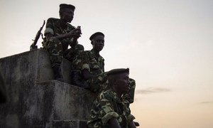 Soldiers from the Burundian armed forces in the Musaga neighbourhood of the capital Bujumbura.