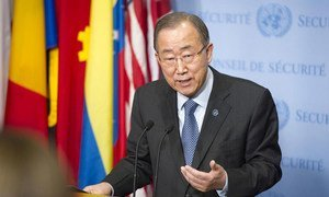 Secretary-General Ban Ki-moon speaks with the press at UN Headquarters on his return from the climate change conference in Paris  known as COP21.