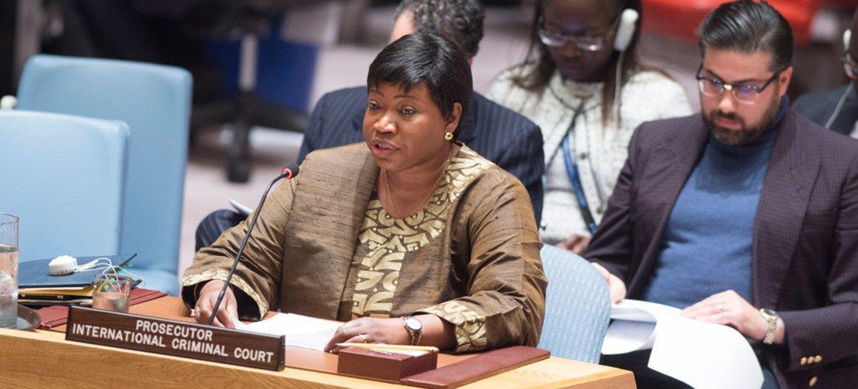 Fatou Bensouda, fiscal de la CPI, en el Consejo de Seguridad. Foto: ONU/Eskinder Debebe