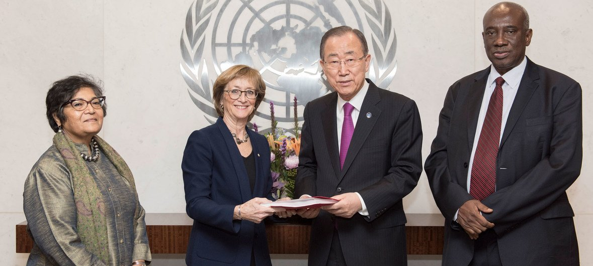 Secretary-General Ban Ki-moon receives the report of the External Review Panel looking into allegations of sexual abuse by foreign military forces in the Central African Republic.