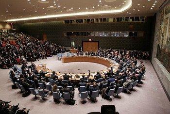 安理会会场资料图片。联合国图片/Evan Schneider