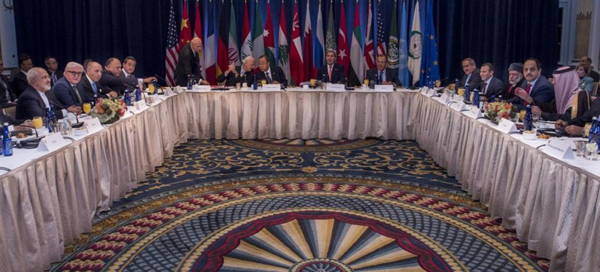 A wide view of the meeting of the International Syria Support Group (ISSG) in New York.