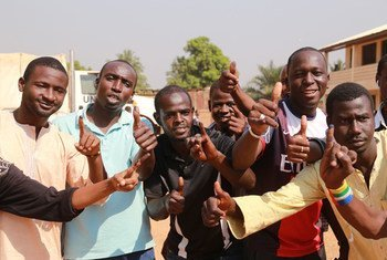 Voters in the PK5 area of the capital Bangui after casting ballots in the Central African Republic referendum from 13 to 14 December 2015 on a new draft constitution for the country.