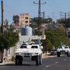 Fuerzas de paz en vehículos blindados en la ciudad de Jwayya entre Tyr y Tibnin, en el Líbano. Foto: UNIFIL