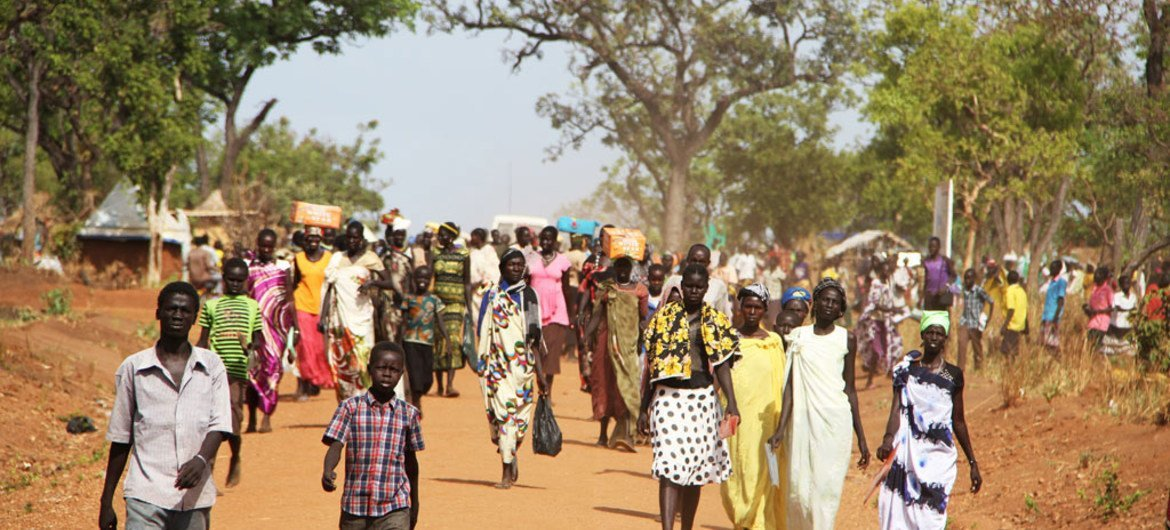 A group of refugees from South Sudan at a settlement in Uganda.
