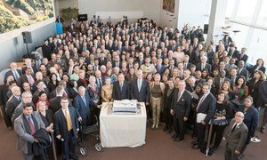 Secretary-General Ban Ki-moon and General Assembly President Mogens Lykketoft  joined delegates in celebration of the 70th anniversary of the first meeting of the Assembly.