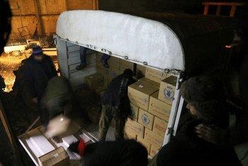 Доставка  помощи в город  Мадая в Сирии. Фото ВПП