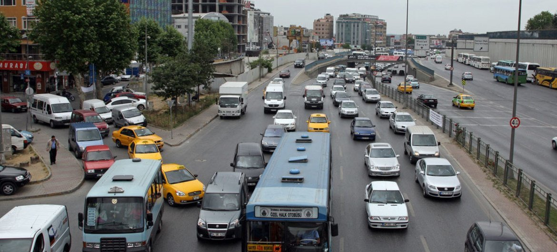 A busy street in Istanbul, Turkey.