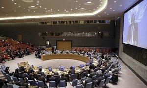 Le Représentant spécial de l'ONU en République démocratique du (RDC), Maman Sidikou (sur l'écran), s'adresse au Conseil de sécurité par vidéo conférence. Photo ONU/Evan Schneider