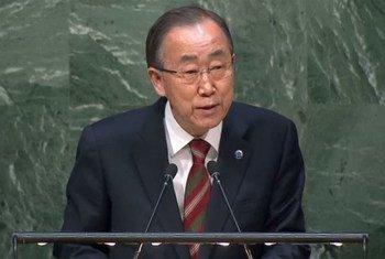 潘基文在联大发表讲话资料图片。联合国图片